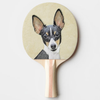 Toy Fox Terrier Painting - Cute Original Dog Art Ping Pong Paddle