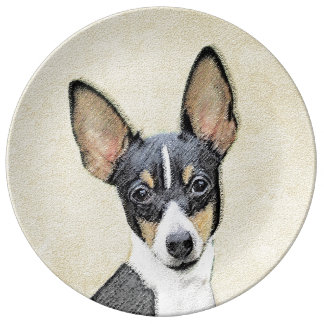 Toy Fox Terrier Painting - Cute Original Dog Art Plate