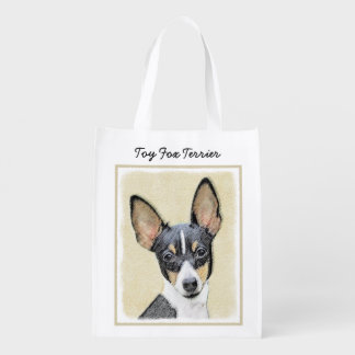 Toy Fox Terrier Painting - Cute Original Dog Art Reusable Grocery Bag