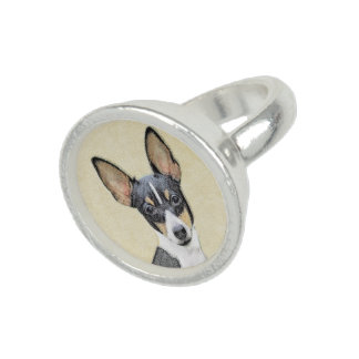 Toy Fox Terrier Painting - Cute Original Dog Art Ring