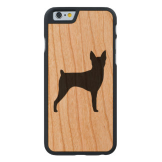 Toy Fox Terrier Silhouette Rustic Carved Cherry iPhone 6 Case
