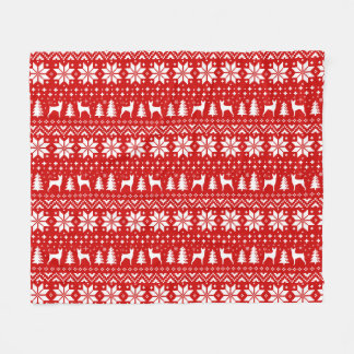 Toy Fox Terrier Silhouettes Christmas Pattern Red Fleece Blanket
