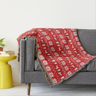 Toy Fox Terrier Silhouettes Christmas Pattern Red Throw Blanket