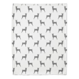 Toy Fox Terrier Silhouettes Pattern Duvet Cover