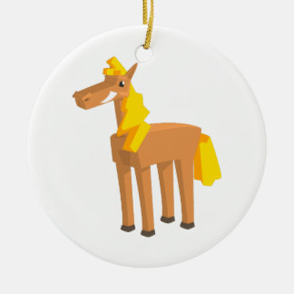 Toy Horse Drawing Isolated On White Background. Ceramic Ornament