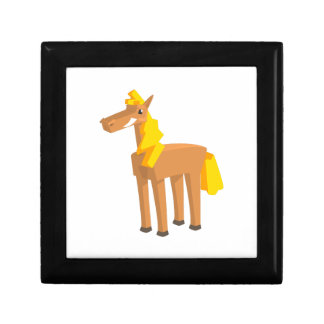 Toy Horse Drawing Isolated On White Background. Gift Box
