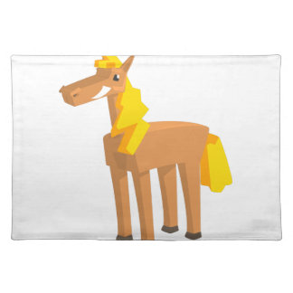 Toy Horse Drawing Isolated On White Background. Placemat