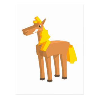 Toy Horse Drawing Isolated On White Background. Postcard