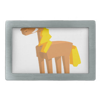 Toy Horse Drawing Isolated On White Background. Rectangular Belt Buckle
