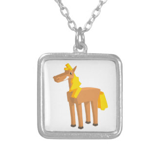 Toy Horse Drawing Isolated On White Background. Silver Plated Necklace