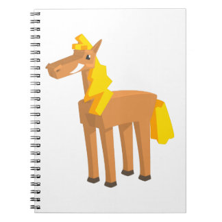 Toy Horse Drawing Isolated On White Background. Spiral Notebook
