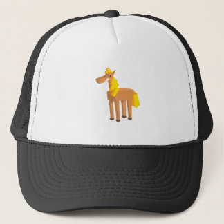 Toy Horse Drawing Isolated On White Background. Trucker Hat