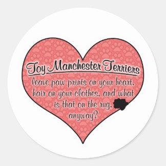 Toy Manchester Terrier Paw Prints Dog Humor Round Sticker