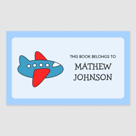 Toy plane book label stickers | School supplies