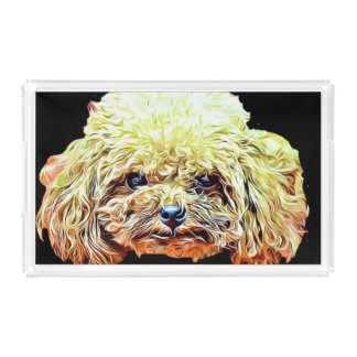 Toy poodle acrylic serving tray