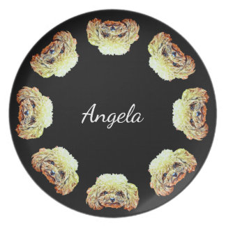 Toy poodle dog  personalized dinner plate