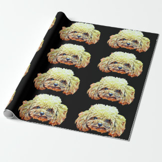Toy poodle dog wrapping paper