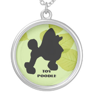 Toy Poodle ~ Green Leaves Design Silver Plated Necklace