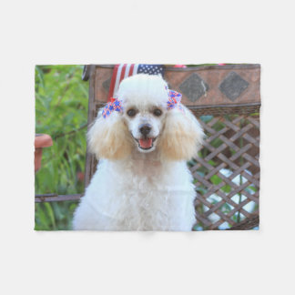 Toy poodle puppy throw fleece blanket