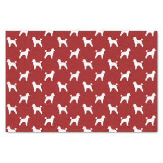 Toy Poodle Silhouettes Pattern Red Tissue Paper
