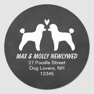 Toy Poodle Silhouettes Return Address Round Sticker