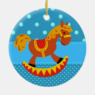 Toy Rocking Horse Red and Gold Ceramic Ornament