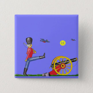Toy Soldier and Toy Cannon...Button. 2 Inch Square Button