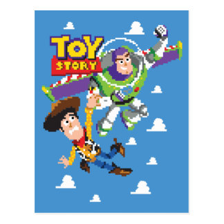 Toy Story 8Bit Woody and Buzz Lightyear Postcard