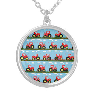 Toy tractor pattern silver plated necklace