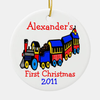 Toy Train-First Christmas-Personalize It Round Ceramic Ornament