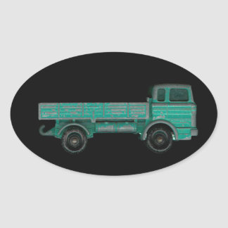 Toy truck photo vintage flatbed for movers haulers oval sticker