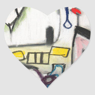 Toy Wars (primitive expressionism) Heart Sticker