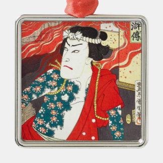Toyohara Kunichika: Kabuki - Tattooed Firefighter Metal Ornament