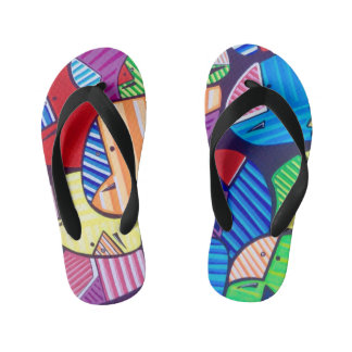 "TQuinn original art ""Happy Feet"" Kid's Flip Flops"