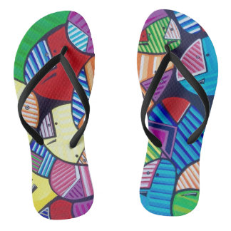 "Tquinn original art ""Happy Soles"" flip flops"