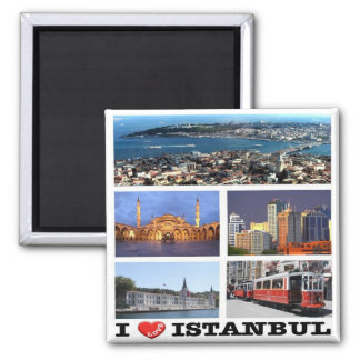 TR - Turkey - Istanbul - I Love - Collage Magnet
