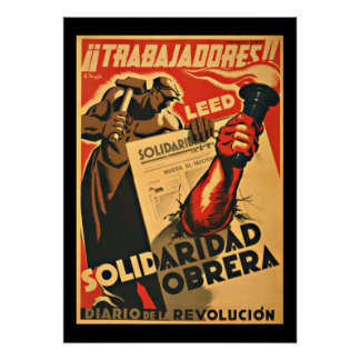 TRABAJADDRES! WORKERS  - SPANISH CIVIL WAR POSTER