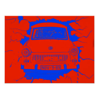 Trabant Car and Red/Blue Berlin Wall Poster