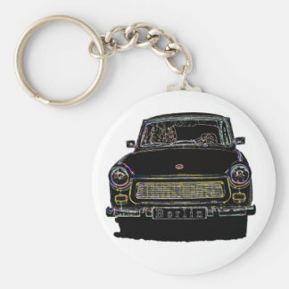 Trabant Car , Black Outlined, Front View Keychain