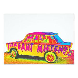 Trabant Car for Rent(Mieten),Rainbow,White Back Card