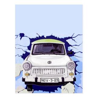 Trabant Car , Pale Blue, Berlin Wall Postcard
