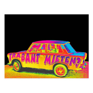 Trabant Car , Raibow Effect, Black Back, Berlin Postcard