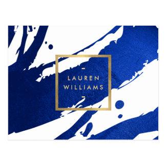 Traçages abstraits de bleu d'indigo cartes postales