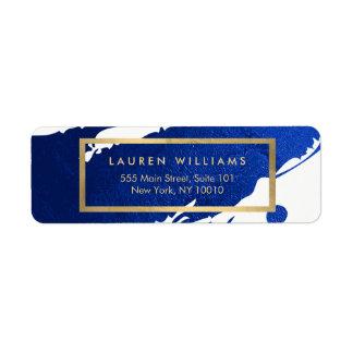 Traçages abstraits de bleu d'indigo étiquettes d'adresse retour
