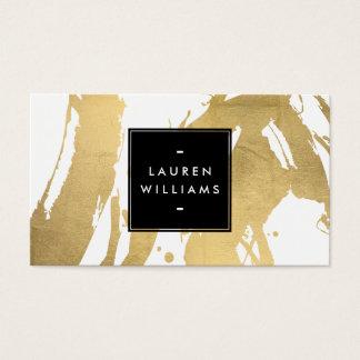 Traçages abstraits d'or de Faux sur le blanc Cartes De Visite