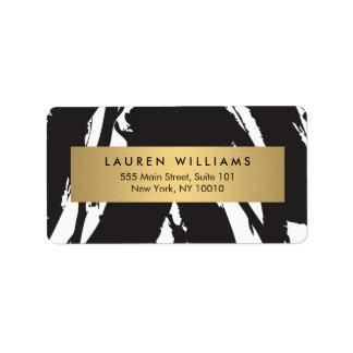 Traçages noirs abstraits avec l'étiquette de nom étiquette d'adresse