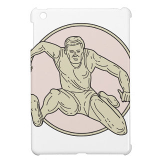 Track and Field Athlete Hurdle Circle Mono Line Cover For The iPad Mini