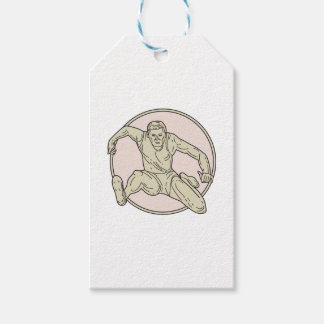 Track and Field Athlete Hurdle Circle Mono Line Gift Tags