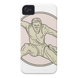 Track and Field Athlete Hurdle Circle Mono Line iPhone 4 Case