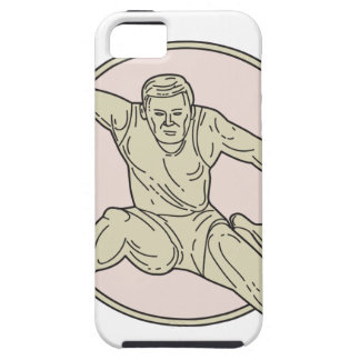 Track and Field Athlete Hurdle Circle Mono Line iPhone 5 Case